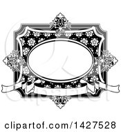 Clipart Of A Black And White Ornate Vintage Floral Frame Royalty Free Vector Illustration