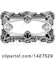 Clipart Of A Black And White Ornate Vintage Art Deco Frame Royalty Free Vector Illustration