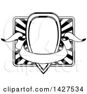 Clipart Of A Black And White Ornate Vintage Frame With A Banner Royalty Free Vector Illustration
