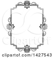 Clipart Of A Black And White Ornate Vintage Floral Frame Royalty Free Vector Illustration by AtStockIllustration