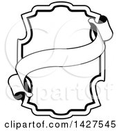 Clipart Of A Black And White Ornate Vintage Frame With A Banner Royalty Free Vector Illustration by AtStockIllustration