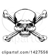 Clipart Of A Black And White Pirate Skull And Crossbones Royalty Free Vector Illustration