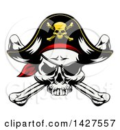 Clipart Of A Cartoon Pirate Skull And Crossbones Wearing An Eye Patch And Captain Hat Royalty Free Vector Illustration by AtStockIllustration