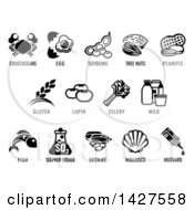 Clipart Of Black And White Icons Of The 8 FDA Major Allergens Royalty Free Vector Illustration