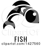 Clipart Of A Black And White Food Allergen Icon Of A Fish Over Text Royalty Free Vector Illustration by AtStockIllustration