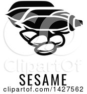 Clipart Of A Black And White Food Allergen Icon Of Seeds Over Sesame Text Royalty Free Vector Illustration by AtStockIllustration