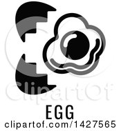 Clipart Of A Black And White Food Allergen Icon Of An Egg Over Text Royalty Free Vector Illustration by AtStockIllustration