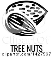 Clipart Of A Black And White Food Allergen Icon Of Tree Nuts Over Text Royalty Free Vector Illustration by AtStockIllustration