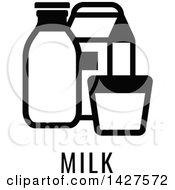 Clipart Of A Black And White Food Allergen Icon Of Milk Over Text Royalty Free Vector Illustration by AtStockIllustration