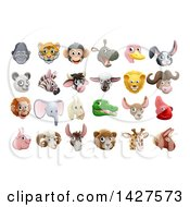 Clipart Of Happy Animal Face Avatars Royalty Free Vector Illustration by AtStockIllustration