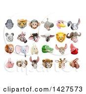 Poster, Art Print Of Happy Animal Face Avatars