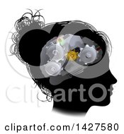 Clipart Of A Black Silhouetted Womans Head In Profile With A Gear Brain Royalty Free Vector Illustration