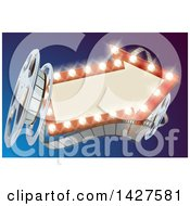 Clipart Of A 3d Film Reel And An Illuminated Arrow Sign Over Blue Royalty Free Vector Illustration by AtStockIllustration