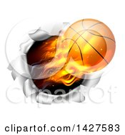 Clipart Of A 3d Flying And Blazing Basketball With A Trail Of Flames Breaking Through A Wall Royalty Free Vector Illustration