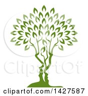 Clipart Of A Green Tree With Abstract Faces Of A Couple Formed In The Trunk Royalty Free Vector Illustration by AtStockIllustration