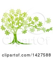 Clipart Of A Beautiful Gradient Green Tree With A Leaf Flying Away In The Breeze Royalty Free Vector Illustration by AtStockIllustration