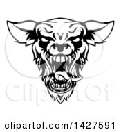 Clipart Of A Black And White Roaring Werewolf Head Royalty Free Vector Illustration