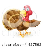 Clipart Of A Turkey Bird Presenting Royalty Free Vector Illustration
