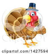 Clipart Of A Hungry Thanksgiving Turkey Bird Wearing A Pilgrim Hat And Holding Silverware Royalty Free Vector Illustration by AtStockIllustration