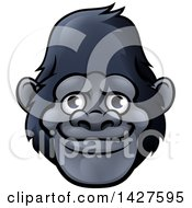 Clipart Of A Happy Smiling Gorilla Face Avatar Royalty Free Vector Illustration by AtStockIllustration