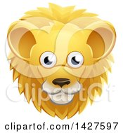 Clipart Of A Happy Male Lion Face Avatar Royalty Free Vector Illustration