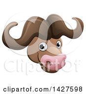 Clipart Of A Happy African Safari Cape Buffalo Face Avatar Royalty Free Vector Illustration by AtStockIllustration