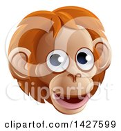 Clipart Of A Happy Orangutan Face Avatar Royalty Free Vector Illustration