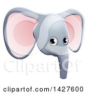 Clipart Of A Happy Elephant Face Avatar Royalty Free Vector Illustration by AtStockIllustration