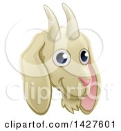 Clipart Of A Happy Goat Face Avatar Royalty Free Vector Illustration