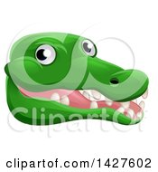 Clipart Of A Happy Crocodile Face Avatar Royalty Free Vector Illustration by AtStockIllustration