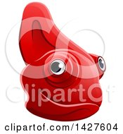 Clipart Of A Happy Red Chameleon Lizard Face Avatar Royalty Free Vector Illustration