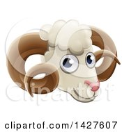 Clipart Of A Happy Ram Face Avatar Royalty Free Vector Illustration by AtStockIllustration