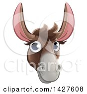 Clipart Of A Happy Donkey Face Avatar Royalty Free Vector Illustration