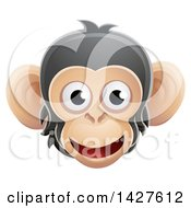 Clipart Of A Happy Chimpanzee Monkey Face Avatar Royalty Free Vector Illustration by AtStockIllustration