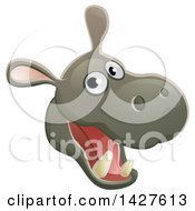 Clipart Of A Happy Hippo Face Avatar Royalty Free Vector Illustration