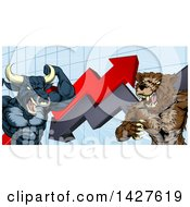 Clipart Of A Vicious Muscular Brown Bear Man And Bull Ready To Fight Over A Graph With Arrows Royalty Free Vector Illustration