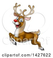 Clipart Of A Cartoon Happy Rudolph Red Nosed Reindeer Leaping Or Flying Royalty Free Vector Illustration by AtStockIllustration