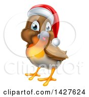 Clipart Of A Jolly Christmas Robin In A Santa Hat Facing Left Royalty Free Vector Illustration by AtStockIllustration