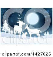 Clipart Of A White Silhouetted Deer Family Under A Full Moon In A Winter Landscape At Night Royalty Free Vector Illustration