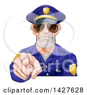 Clipart Of A Tough White Male Police Officer Wearing Sunglasses And Pointing Outwards Royalty Free Vector Illustration by AtStockIllustration