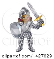 Clipart Of A Happy Black Girl In Full Knight Armour Holding A Shield And Sword Royalty Free Vector Illustration by AtStockIllustration