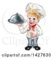 Clipart Of A Happy Young Blond White Male Chef Holding A Cloche Platter And Giving A Thumb Up Royalty Free Vector Illustration