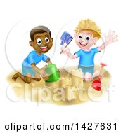 Clipart Of A Happy White And Black Boys Playing And Making A Sand Castle On A Beach Royalty Free Vector Illustration by AtStockIllustration