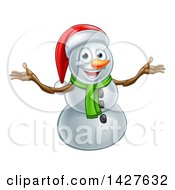 Happy Snowman Wearing A Christmas Santa Hat And Welcoming