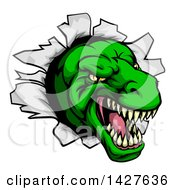 Clipart Of A Cartoon Angry Green Tyrannosaurus Rex Dino Head Breaking Through A Wall Royalty Free Vector Illustration by AtStockIllustration