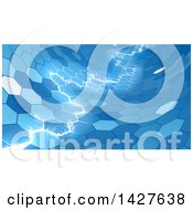 Clipart Of Electric Lightning Through A Blue Honecomb Hexagonal Background Royalty Free Vector Illustration by AtStockIllustration