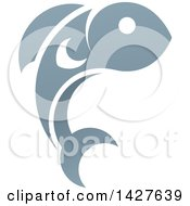 Clipart Of A Gradient Jumping Fish Royalty Free Vector Illustration