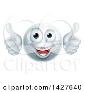 Cartoon Happy Golf Ball Mascot Giving Two Thumbs Up