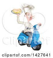 White Male French Chef With A Curling Mustache Holding A Hot Dog And Fries On A Tray And Driving A Scooter
