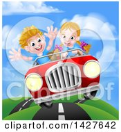 Blond White Girl Driving A Boy In A Red Convertible Car Catching Air On A Rural Road